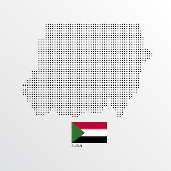 Sudan map design with flag and light background vector