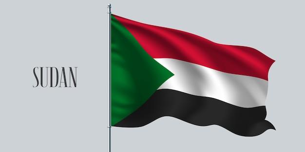 Sudan waving flag on flagpole.