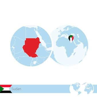 Sudan on world globe with flag and regional map of sudan. vector illustration.