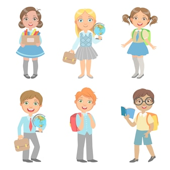 Sudents with school bags set