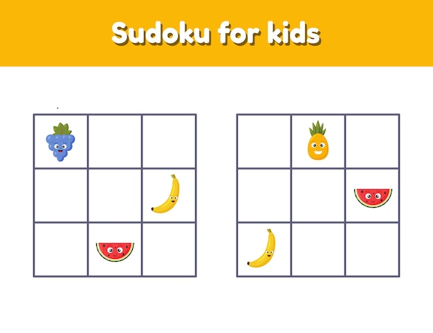 Sudoku for children with pictures. logic rebus for preschool and school kids. educational game.
