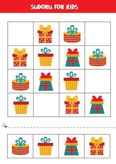 カラフルなクリスマスボックスを持つ子供のための数独。子供のための教育的な論理ゲーム。