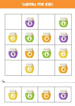 就学前の子供のための数独。カラフルなジャムジャーを使った論理的なゲーム。