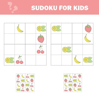 Sudoku game for children with pictures kids activity sheet cartoon fruits
