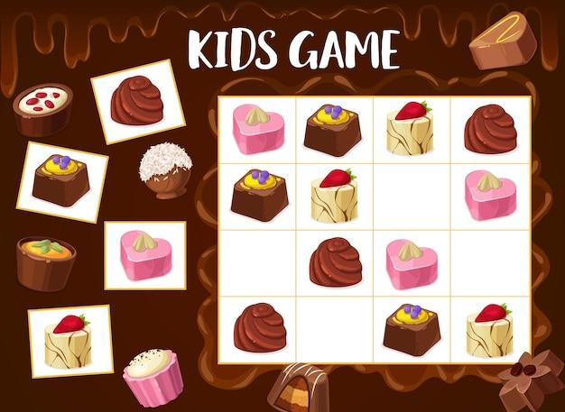 스도쿠 게임 초콜릿 트러플, 구운 견과류 캔디, 프랄린 과자. 체크 무늬 보드에 만화 디저트와 함께 어린이 벡터 수수께끼. 교육 과제, 아기 활동을 위한 어린이 훈련 티저, 보드 게임