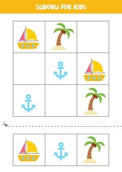만화 여름 요소가 있는 아이들을 위한 스도쿠 게임.