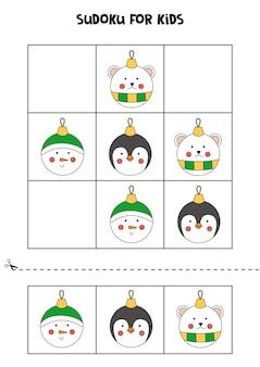 크리스마스 싸구려와 아이들을 위한 스도쿠 게임.