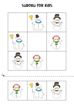 귀여운 만화 눈사람이 있는 아이들을 위한 스도쿠 게임.