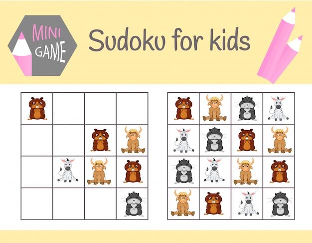 사진과 동물을 가진 아이들을위한 스도쿠 게임. 어린이 시트. 학습 논리, 교육 게임
