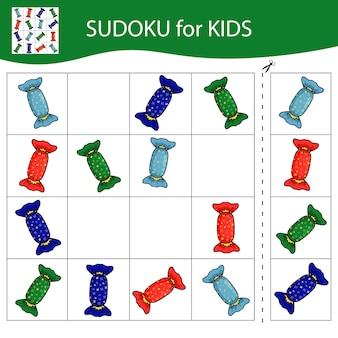 사진이 있는 아이들을 위한 스도쿠 게임. 다채로운 포장이 있는 사탕. 즐거운 성탄절 보내시고 새해 복 많이 받으세요. 벡터.
