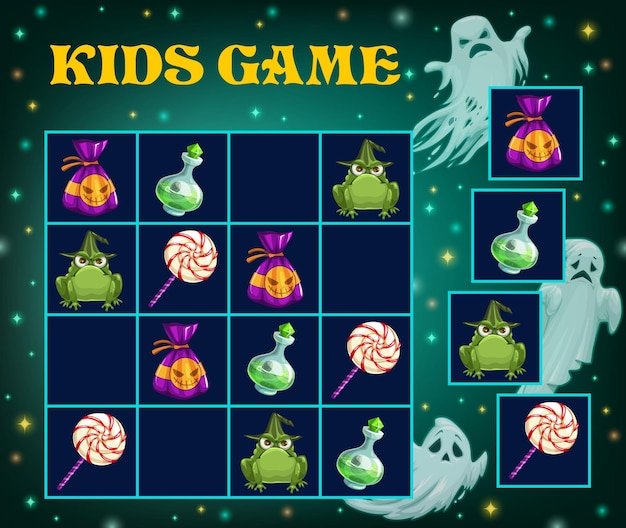 Sudoku game, halloween puzzle and kid logic play with cartoon monsters. halloween holiday cartoon sudoku game, children easy iq education and brain activity quiz or jigsaw rebus background