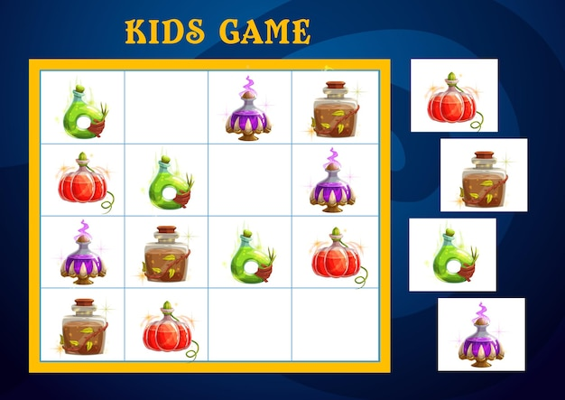 Sudoku game, halloween puzzle and kid logic play with cartoon witch poison potions. halloween sudoku cartoon game template for children iq education and brain activity quiz or jigsaw