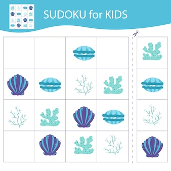 Sudoku game for kids. elements of the underwater world.vector, cartoon