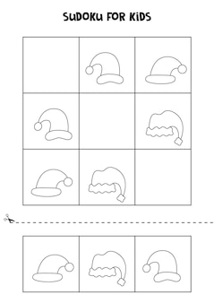 Sudoku game for kids with black and white santa hats.