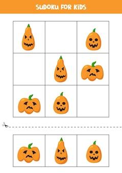 Sudoku game for kids with cartoon halloween pumpkins.