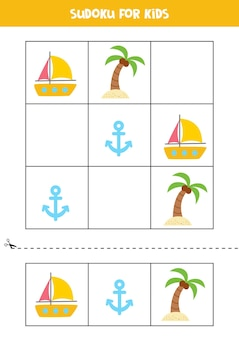 Sudoku game for kids with cartoon summer elements.