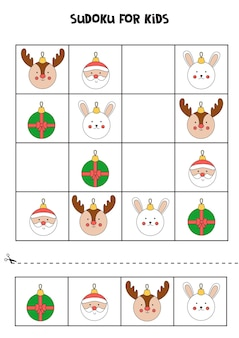 Sudoku game for kids with christmas baubles.