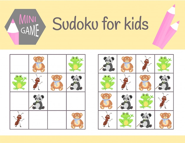 Sudoku game for kids with pictures and animals. children sheets. learning logic, educational game