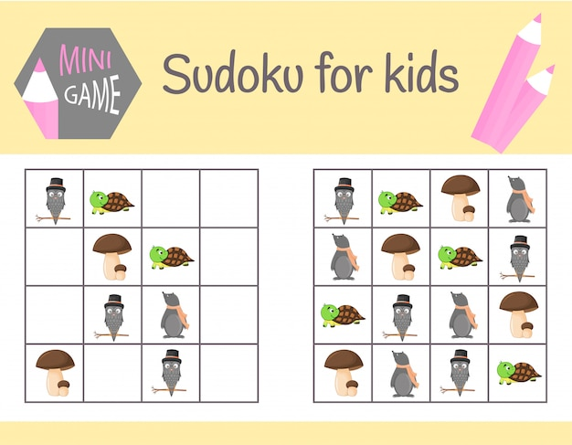 Sudoku game for kids with pictures and animals. learning logic, educational game