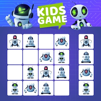 Sudoku game with cartoon robots and droids. vector kids education block puzzle game, logic riddle or maze on circuit board background with modern white robots, artificial intelligence robots, androids