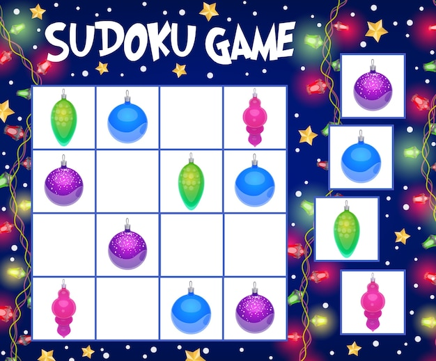 Sudoku game with christmas balls template of children education. logic puzzle, riddle or rebus with cartoon background frame of xmas winter holiday bauble ornaments, snow, lights and gold stars