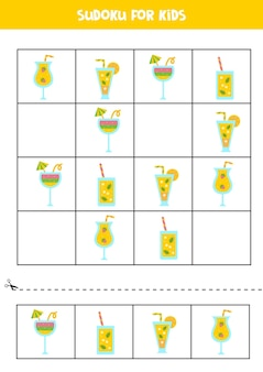Sudoku game with cute summer cocktails for preschool kids. logical game.