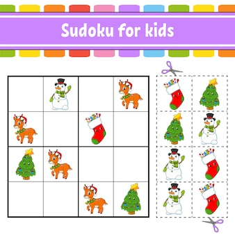Sudoku for kids. education developing worksheet. activity page with pictures. puzzle game for children.