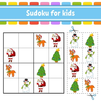 Sudoku for kids. education developing worksheet. activity page with pictures.