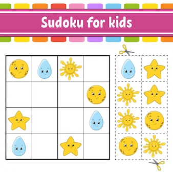 Sudoku for kids. education developing worksheet.