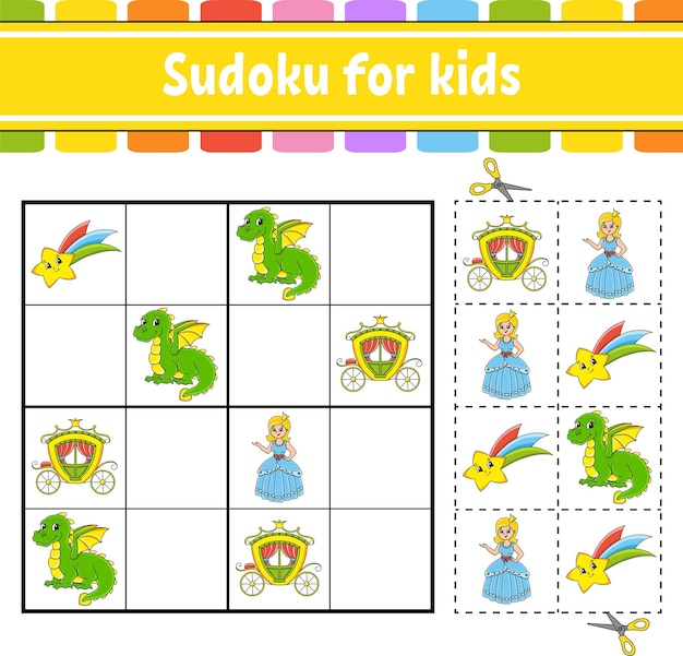Sudoku for kids fairytale theme education developing worksheet