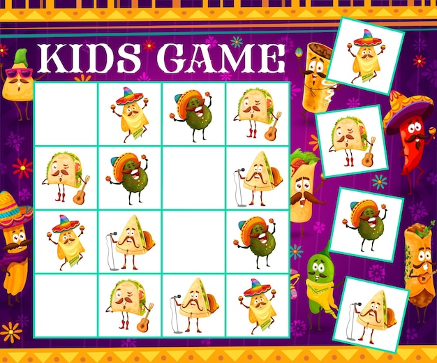 Sudoku kids game cartoon mexican food musician characters. vector riddle with tex mex mariachi singers on chequered board. educational boardgame task, children maze teaser for sparetime activity