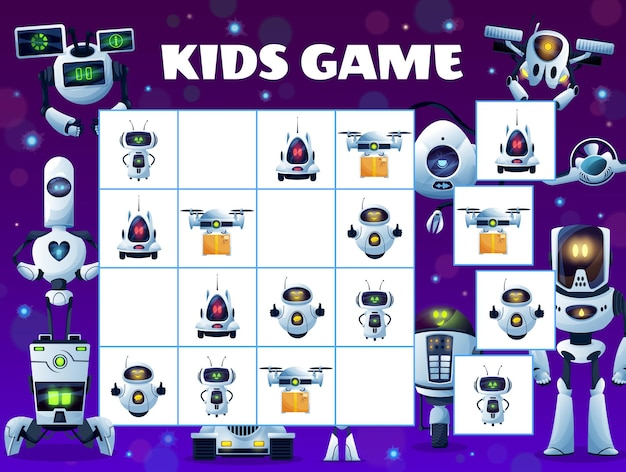 Sudoku kids game puzzle with robots and droids