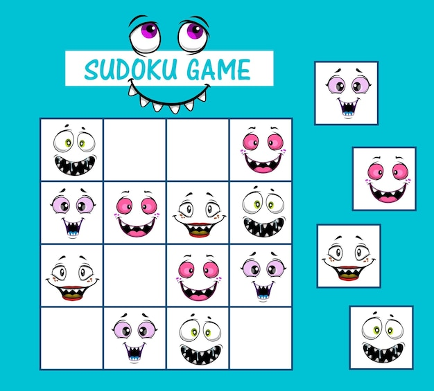 Sudoku kids game vector riddle with cartoon funny faces and monster muzzles on board. children logic riddle, educational task, school or preschool activity, leisure recreation, boardgame with cards