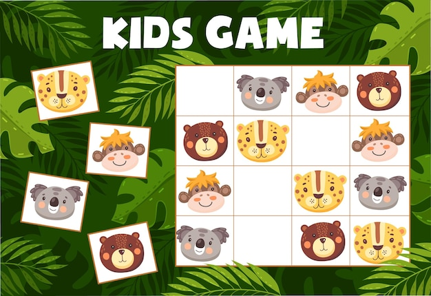 재미있는 동물이 있는 스도쿠 어린이 게임, 체크 무늬 보드에 만화 캐릭터 코알라, 표범, 곰, 원숭이가 있는 벡터 수수께끼. 교육 과제, 아기 여가 활동을 위한 어린이 티저 보드 게임
