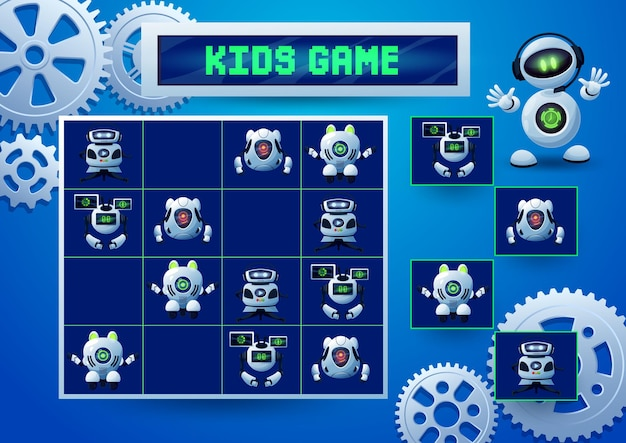 Sudoku kids game with robots, pinions and gears. education game, logic block puzzle or riddle, vector memory maze or test with cartoon robots and droids, artificial intelligence bots, androids