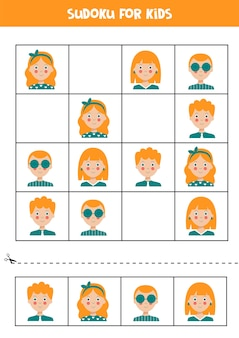 Sudoku for kids with boy and girl faces educational logical game