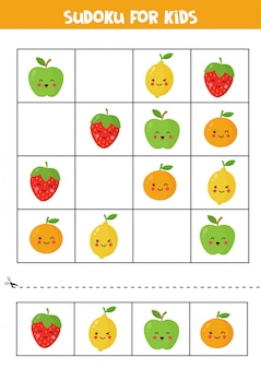 Sudoku for kids with cute kawaii apple, orange, strawberry and lemon.