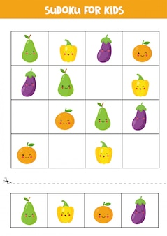 Sudoku for kids with cute kawaii fruits