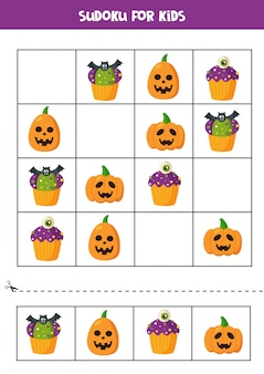 ハロウィーンのカップケーキとカボチャの数独論理ゲーム。