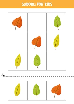 Sudoku for preschool kids. logical game with autumn leaves.