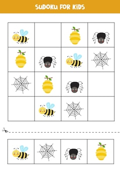 Sudoku for preschool kids. logical game with cute bee and spider.