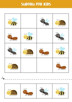 Sudoku for preschool kids. logical game with cute insects.