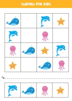 Sudoku for preschool kids. logical game with cute sea animals.