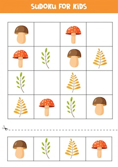 子供のための数独パズル。秋の紅葉とキノコのセットです。