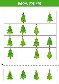 かわいい漫画のクリスマスツリーと数独パズル。子供のための教育ワークシート。