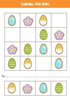 Судоку головоломка с милым мультяшным пасхальным печеньем. логическая игра для детей.