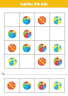 かわいい漫画のおもちゃのボールが付いた数独。子供のためのゲーム。