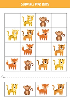 Sudoku with leopard, tiger, monkey, fox. puzzle for kids.