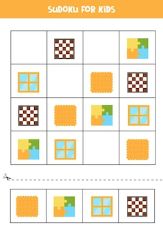 Sudoku with for preschool kids. logical game with square objects.