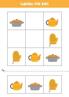 Судоку с тремя картинками для дошкольников. логическая игра с кухонными предметами.
